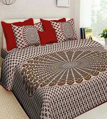 100% Cotton Hand Screen Printed Bedding Bedspread Bedsheet With 2 Pillow Cover Queen Size 90 X 108 inches Bedcover