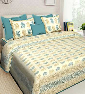 Floral Printed Jaipuri Cotton Bedsheet With 2 Pillow Cover Bedding Bedspread  Queen Size 90 X 108 inches