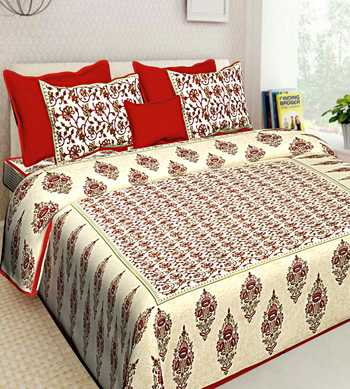 Pure Cotton Handmade Bedding Bedspread Bedsheet With 2 Pillow Cover Queen Size 90 X 108 inches Bedcover