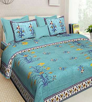 INDIAN PRINT QUEEN SIZE 100% COTTON BEDDING BEDDSHEET WITH 2 PILLOW COVER SANGANERI DOUBLE SIZE BEDCOVER
