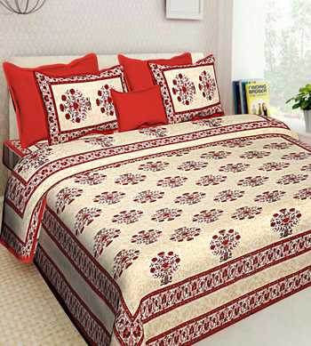 SANGANERI SCREEN PRINT QUEEN SIZE 100% COTTON BEDDING BEDDSHEET WITH 2 PILLOW COVER SANGANERI DOUBLE SIZE BEDCOVER