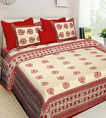 Sanganeri Hand Screen Printed Queen Size 90 X 108 inches Cotton Bedding Bedsheet With 2 Pillow Cover Bedcover