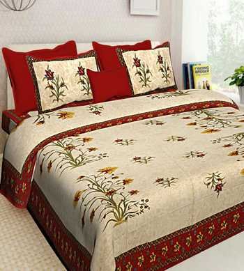 Indian Handmade Queen Size Cotton Bedding Bedsheet With 2 Pillow Cover 90X108 inches Bedspread Bedcover