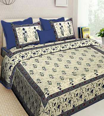 Cotton Bedding Bedsheet With 2 Pillow Cover Queen Size Bedspread 90X108 inches Double Bedcover