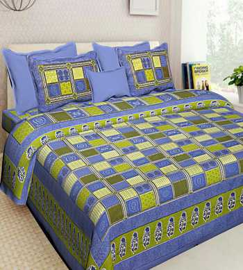 Indian Handmade Cotton Bedding Bedsheet With 2 Pillow Cover Queen Size 90 X 108 inches Bedspread Bedcover