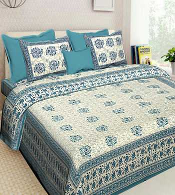 COTTON INDIAN PRINT QUEEN SIZE COTTON BEDDING BEDSHEET WITH 2 PILLOW COVER SANGANERI DOUBLE SIZE BEDCOVER