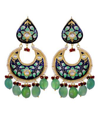 Green Pink Classy Enamel Work Natural Stone Earring