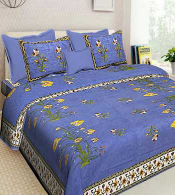 HANDMADE COTTON PRINTED QUEEN SIZE BEDDING BEDSHEET WITH 2 PILLOW COVER SANGANERI 90X018 INCHES BEDCOVER