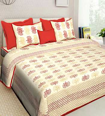 Indian Cotton Screen Printed Bedding With 2 Pillow Cover Queen Size 90 X 108 inches Bedcover Bedsheet