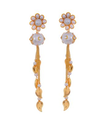 White Pearl Beautiful Delicate Pacchi Work Jhumki