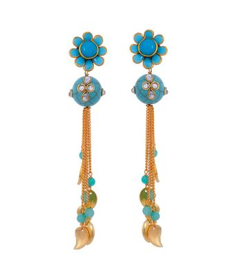 Tourquoise Cute Delicate Pacchi Work Jhumki Earring