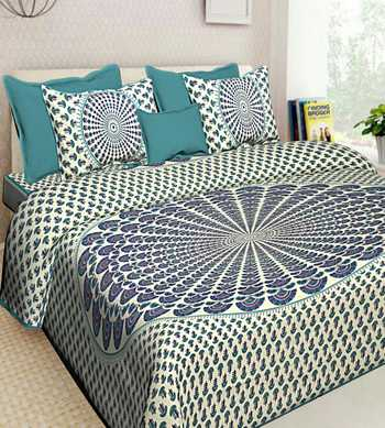 Hand Printed Indian Handmade Cotton Bedding Bedspread Bedsheet With 2 Pillow Cover Queen Size Bedcover