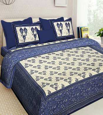 Jaipuri Handmade Cotton Printed Bedding Bedspread Bedsheet With 2 Pillow Cover Queen Size 90 X 108 inches Bedcover