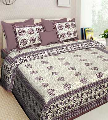 HANDMADE COTTON INDIAN PRINTED QUEEN SIZE BEDDING BEDSHEET WITH 2 PILLOW COVER SANGANERI 90X018 INCHES
