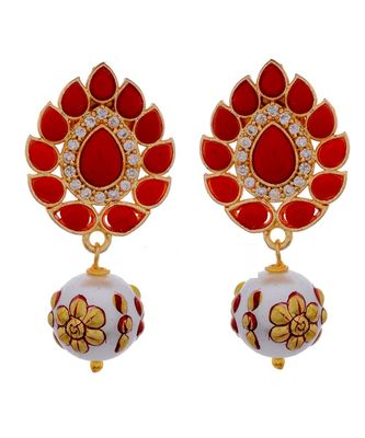 Orange Golden Cute Tanjore Art Pearl Drop Earring