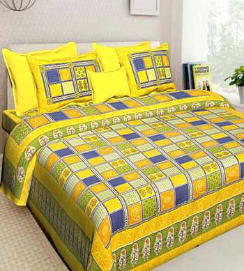 100% COTTON INDIAN PRINT QUEEN SIZE COTTON BEDDING BEDSHEET WITH 2 PILLOW COVER SANGANERI SIZE BEDCOVER 90X108 inches