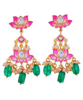 Pink Green Cute Delicate Lotus Pattern Festival Earring