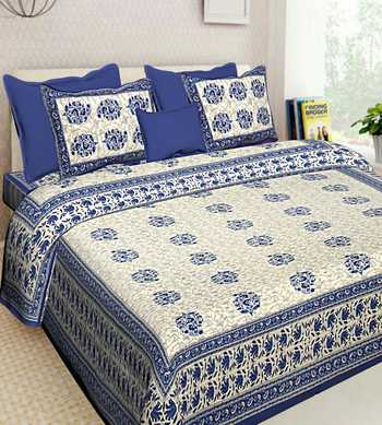 Indian Cotton Hand Screen Printed Bedding Bedspread Bedsheet With 2 Pillow Cover Queen Size 90 X 108 inches