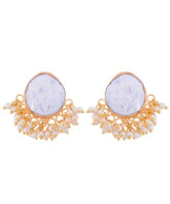 White Golden Baroque Pearl Stylish Fashionable Earring