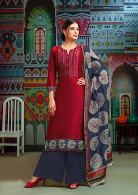 Red woven blended cotton salwar