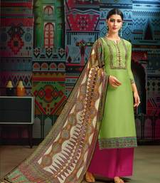 Green woven blended cotton salwar