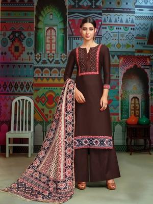 Brown woven blended cotton salwar