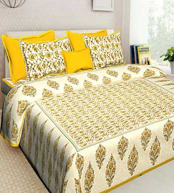 Pure Cotton Printed Bedding Bedspread with 2 Pillow Cover Double Bed Size 90 X 108 inches Bedcover