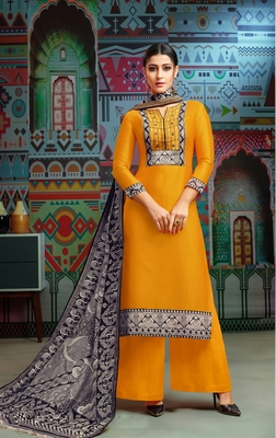 Yellow woven blended cotton salwar