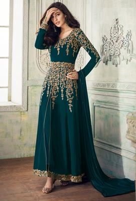 Turquoise embroidered faux georgette salwar