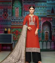 Red woven blended cotton salwar