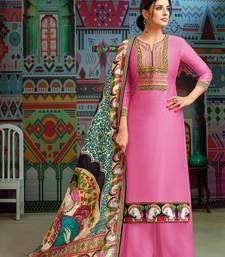 Pink woven blended cotton salwar