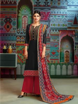 Black woven blended cotton salwar