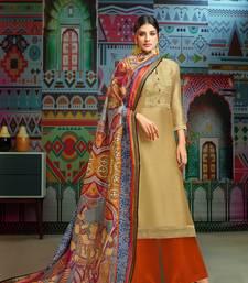 Golden woven blended cotton salwar