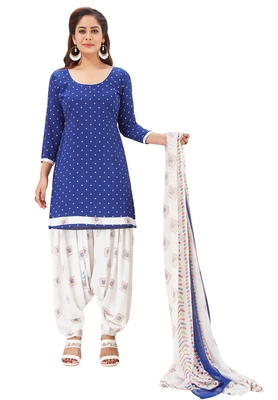 Women's Dark Blue & White Synthetic Printed Unstitch Dress Material With Dupatta