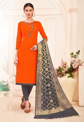 Orange beads cotton salwar