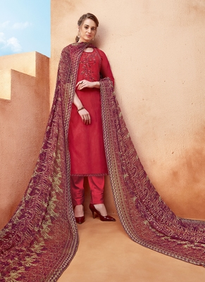Red Resham Embroidery Viscose Salwar