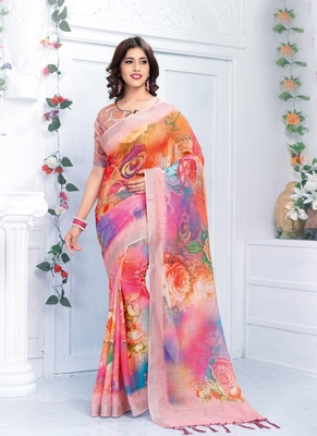 Multicolor printed linen saree with blouse