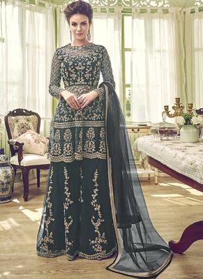 Dark-Grey Embroidered Net Salwar