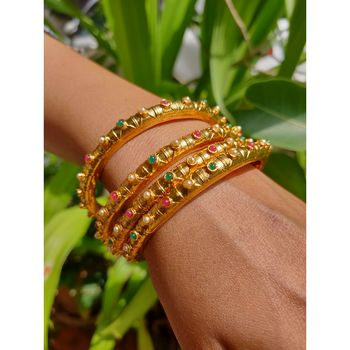 Gold Plated Beaded Bangles Set Of 4