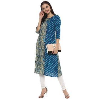 multicoloured printed cotton designer lehariya kurti