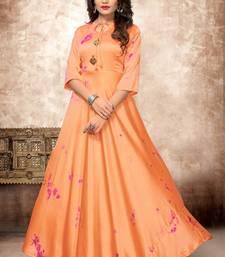Orange printed silk kurtis