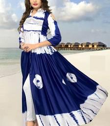 Blue printed silk kurtis