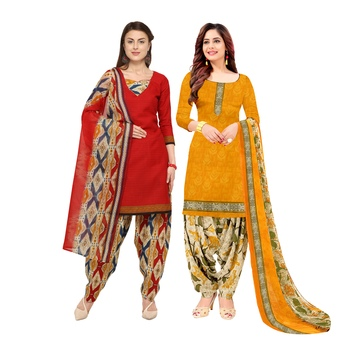 Multicolor Printed Blended Cotton Unstitched Salwar With Dupatta