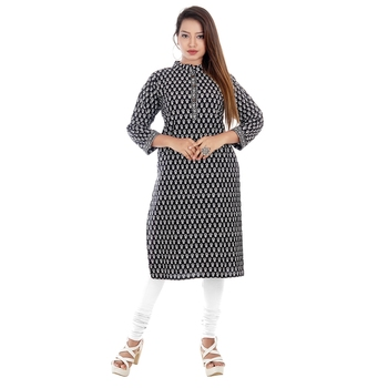 Black printed cotton ethnic-kurtis