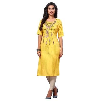 Yellow printed rayon ethnic-kurtis