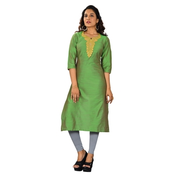 Green embroidered jacquard ethnic-kurtis