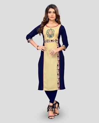Multicolor plain cotton cotton-kurtis