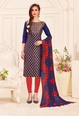 Navy-blue embroidered banarasi cotton salwar