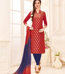 Maroon embroidered banarasi cotton salwar