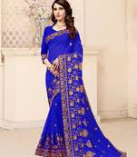 Buy Royal blue embroidered georgette saree with blouse